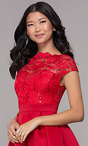 Image of bateau-neck lace-bodice short red party dress. Style: CL-46395 Detail Image 1
