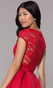 Image of bateau-neck lace-bodice short red party dress. Style: CL-46395 Detail Image 2