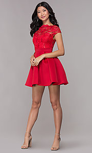 Image of bateau-neck lace-bodice short red party dress. Style: CL-46395 Detail Image 3