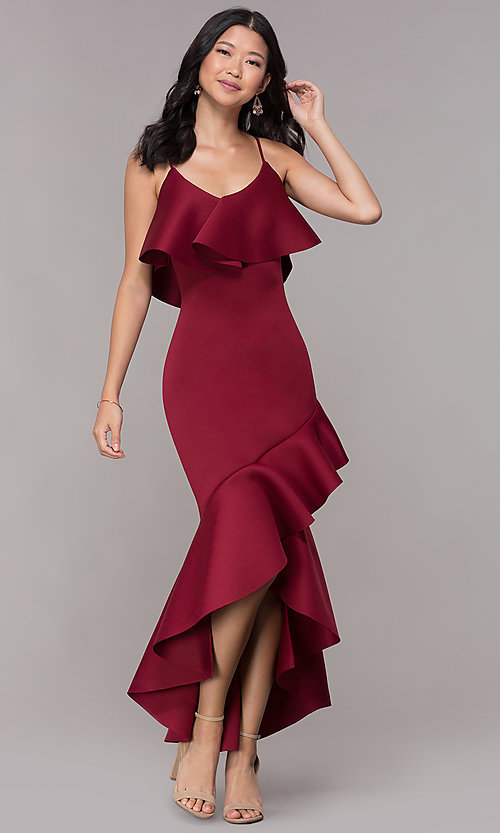 Image of high-low flounce-hem burgundy wedding-guest dress. Style: CL-46713 Front Image