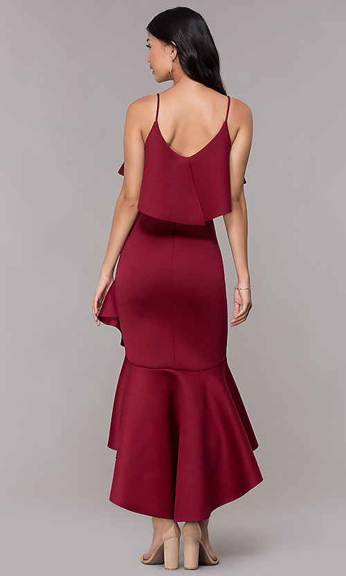 Image of high-low flounce-hem burgundy wedding-guest dress. Style: CL-46713 Back Image