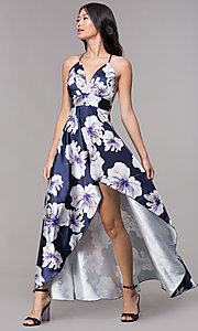 Image of floral-print navy high-low wedding-guest party dress. Style: CL-46493 Front Image