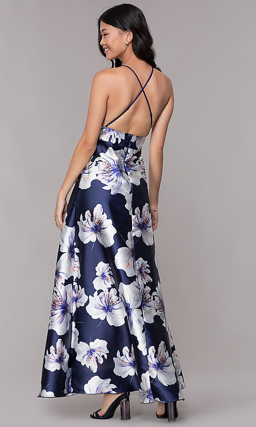 Image of floral-print navy high-low wedding-guest party dress. Style: CL-46493 Back Image