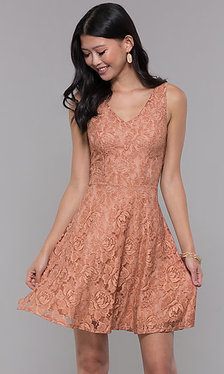 Rose Pink Lace Short Wedding-Guest Party Dress