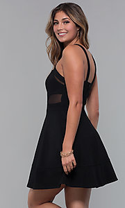 Image of black holiday party dress with illusion cut outs. Style: EM-HBM-1027-001 Back Image