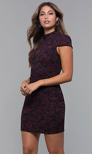Short Black Holiday Party Dress with Wine Red Print