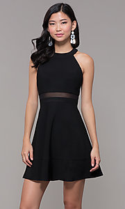 Image of short black holiday party dress with sheer waist. Style: EM-HDT-1027-001 Front Image
