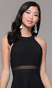 Image of short black holiday party dress with sheer waist. Style: EM-HDT-1027-001 Detail Image 1