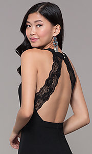 Image of short black holiday party dress with sheer waist. Style: EM-HDT-1027-001 Detail Image 2