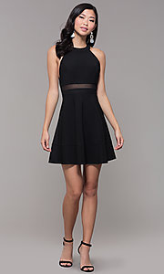 Image of short black holiday party dress with sheer waist. Style: EM-HDT-1027-001 Detail Image 3