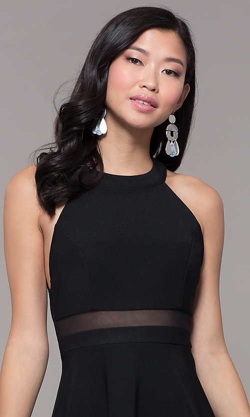 134f5e3f3aa Image of short black holiday party dress with sheer waist. Style  EM-HDT