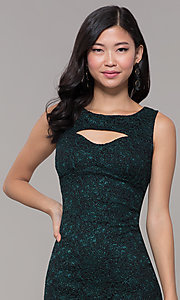 Image of glitter-lace short holiday party dress with cut outs. Style: EM-BKD-3928-024 Detail Image 1