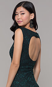 Image of glitter-lace short holiday party dress with cut outs. Style: EM-BKD-3928-024 Detail Image 2