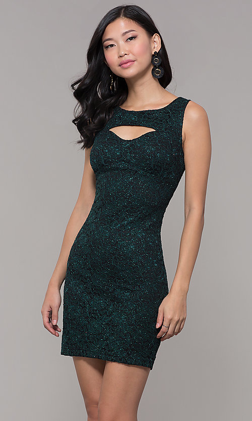 Image of glitter-lace short holiday party dress with cut outs. Style: EM-BKD-3928-024 Front Image