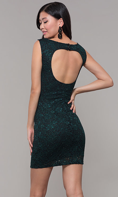 Image of glitter-lace short holiday party dress with cut outs. Style: EM-BKD-3928-024 Back Image
