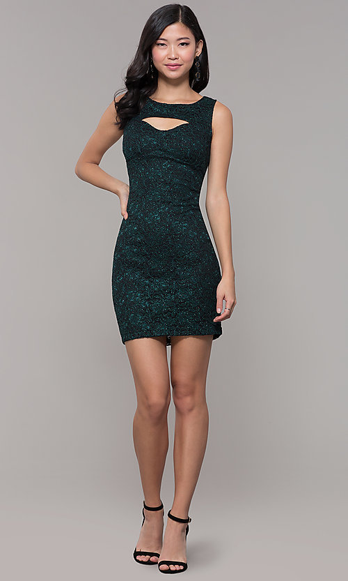 Image of glitter-lace short holiday party dress with cut outs. Style: EM-BKD-3928-024 Detail Image 3