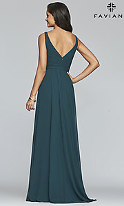 Image of long Faviana classic v-neck formal gown. Style: FA-S10177 Detail Image 4