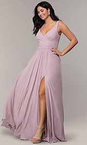 Image of long Faviana classic v-neck formal gown. Style: FA-S10177 Front Image