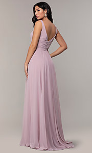 Image of long Faviana classic v-neck formal gown. Style: FA-S10177 Back Image