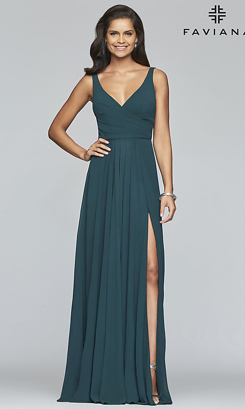 Image of long Faviana classic v-neck formal gown. Style: FA-S10177 Detail Image 3