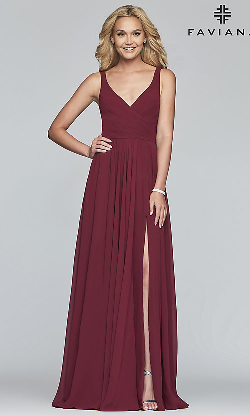 Image of long Faviana classic v-neck formal gown. Style: FA-S10177 Detail Image 5