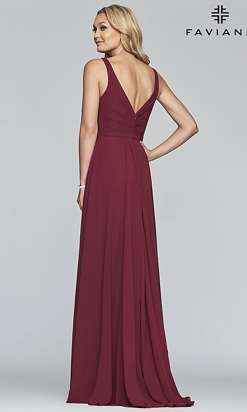 Image of long Faviana classic v-neck formal gown. Style: FA-S10177 Detail Image 6