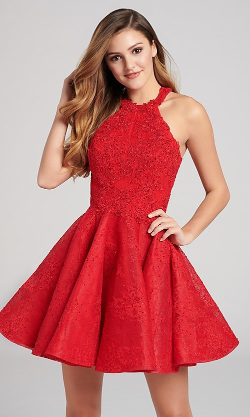 cd73562f069 Open-Back High-Neck Red Lace Homecoming Dress