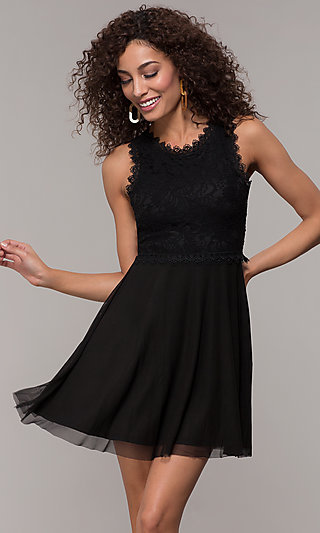 Black Short Wedding-Guest Dress with Lace Bodice