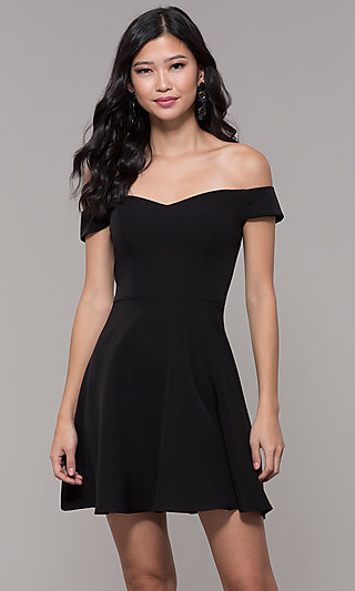 Short Off-the-Shoulder Little Black Party Dress b28b3033abd2