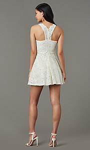 Image of sequin-lace v-neck short grad party dress. Style: JU-11028 Detail Image 3