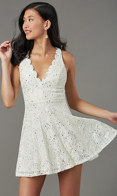 Image of sequin-lace v-neck short grad party dress. Style: JU-11028 Front Image