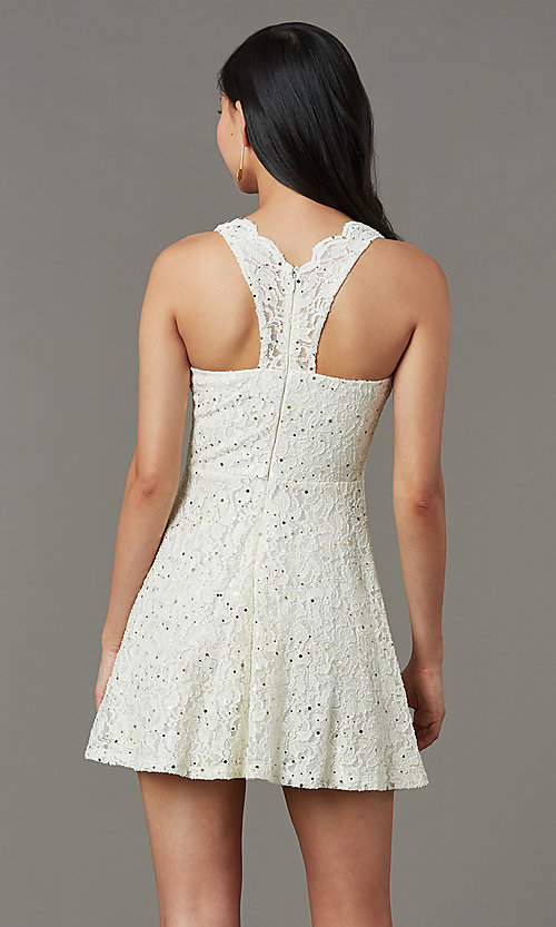 Image of sequin-lace v-neck short grad party dress. Style: JU-11028 Back Image