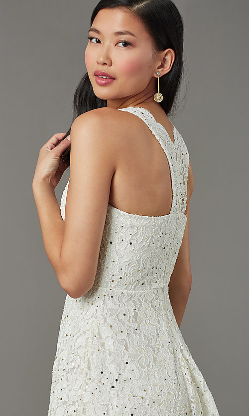 Image of sequin-lace v-neck short grad party dress. Style: JU-11028 Detail Image 1