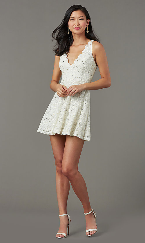 Image of sequin-lace v-neck short grad party dress. Style: JU-11028 Detail Image 2