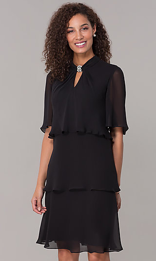 Short Chiffon Black Popover MOB Dress with Sleeves