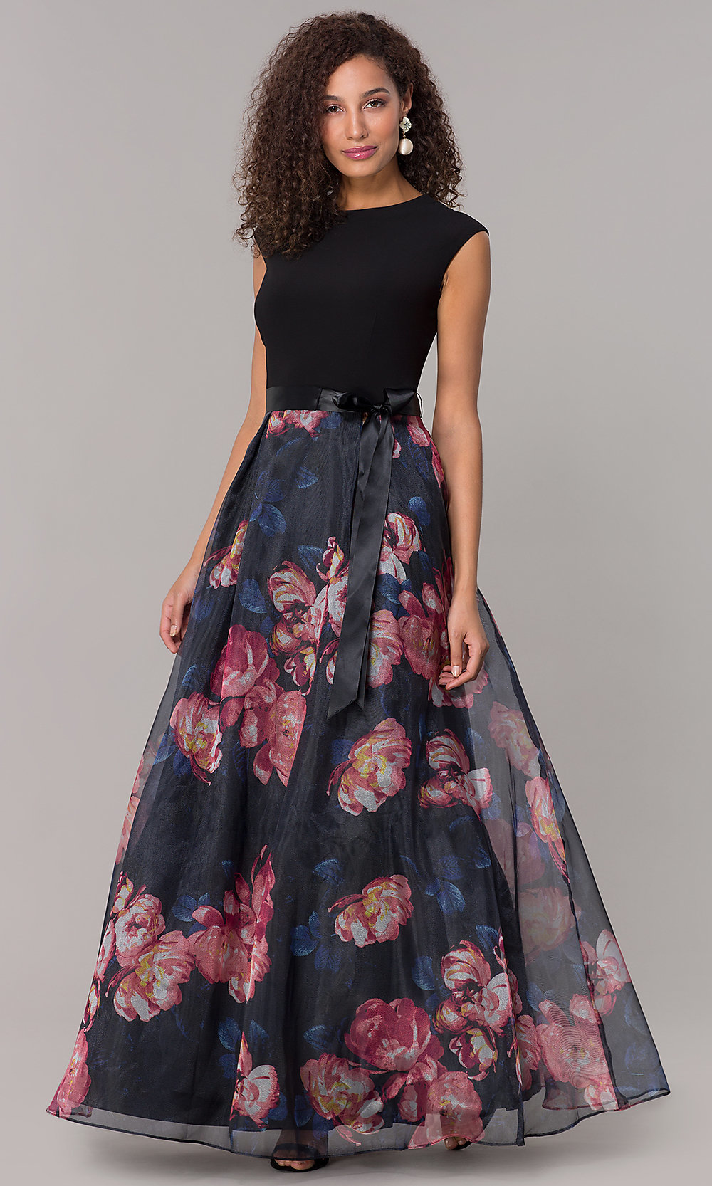 Long Formal Wedding Guest Dress With Floral Print