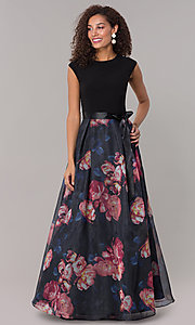Image of long formal wedding-guest dress with print skirt. Style: IT-3901M Detail Image 3