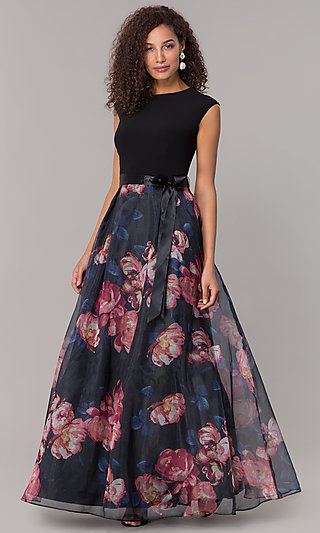 Long Formal Wedding-Guest Dress with Print Skirt