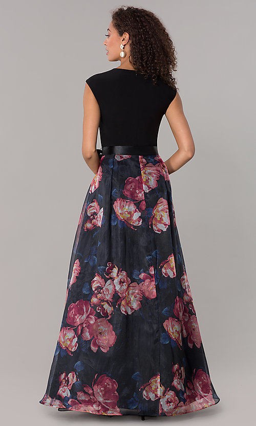 Image of long formal wedding-guest dress with print skirt. Style: IT-3901M Back Image