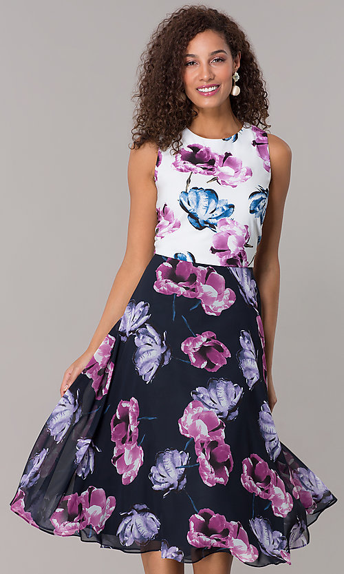 befc906bfbc Image of wedding guest knee-length floral-print dress. Style  IT-