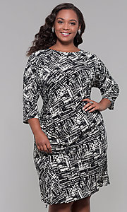 Image of plus-size knee-length sleeved print cocktail dress. Style: JU-TI-t92135 Front Image