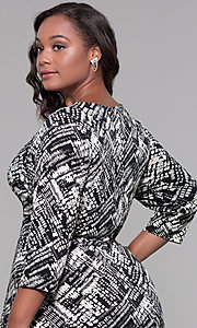 Image of plus-size knee-length sleeved print cocktail dress. Style: JU-TI-t92135 Detail Image 2