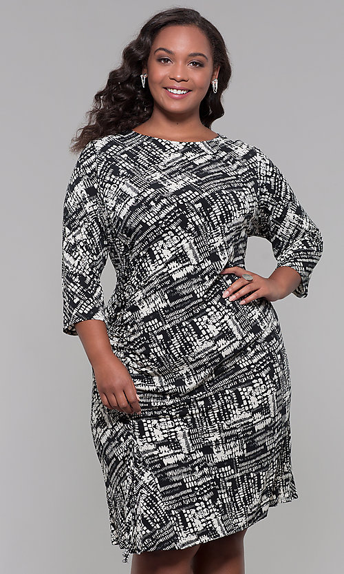 3da59a931 Image of plus-size knee-length sleeved print cocktail dress. Style  JU