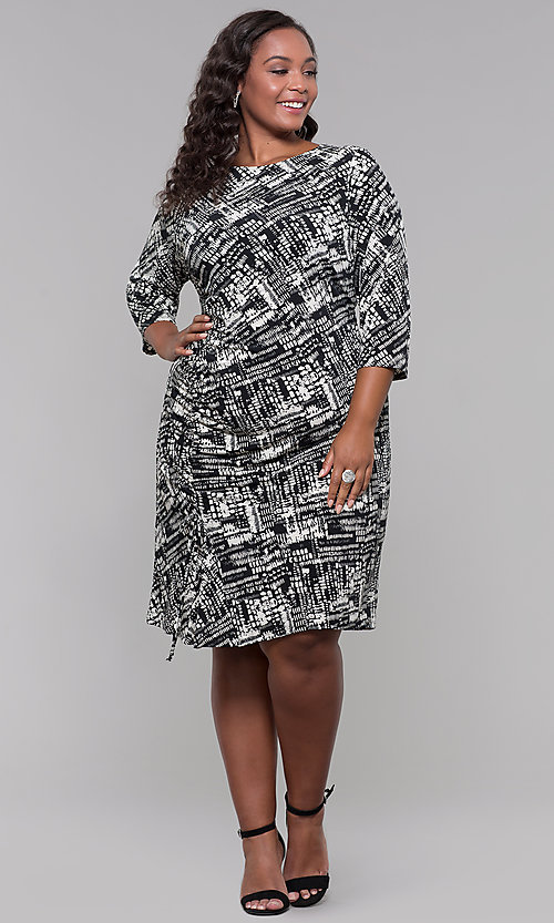 Image of plus-size knee-length sleeved print cocktail dress. Style: JU-TI-t92135 Detail Image 3
