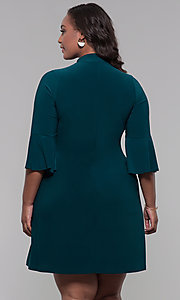 Image of plus-size 3/4-sleeve hunter green short party dress. Style: JU-TI-t92231 Back Image