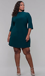 Image of plus-size 3/4-sleeve hunter green short party dress. Style: JU-TI-t92231 Detail Image 3