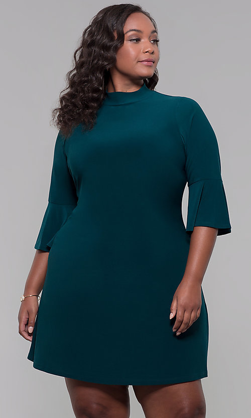 Image of plus-size 3/4-sleeve hunter green short party dress. Style: JU-TI-t92231 Front Image