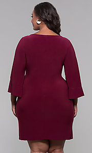Image of short merlot red plus-size wedding guest dress. Style: JU-TI-t90129 Back Image