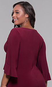 Image of short merlot red plus-size wedding guest dress. Style: JU-TI-t90129 Detail Image 2