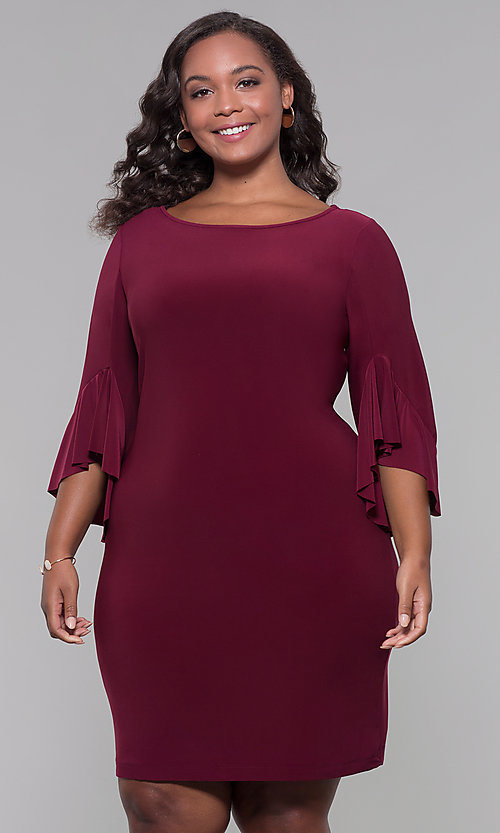 Image of short merlot red plus-size wedding guest dress. Style: JU-TI-t90129 Front Image